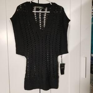 Love Stitch knitted black top, size medium
